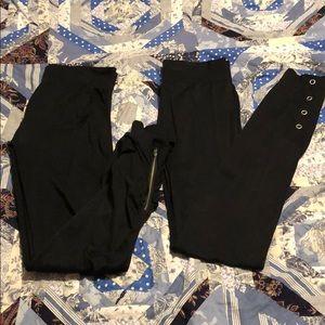Two pairs of black leggings